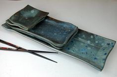 Five Dish Sushi Set in Slate Blue Made to Order by pagepottery, $78.00