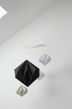 DIY Geometric Paper Diamond Modern Baby Mobile Tutorial - SylvieLiv