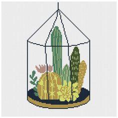Cactus cross stitch pattern floral Modern cross stitch pattern