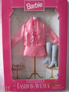 Barbie Fashion Avenue 1996 Boutique Pink Satin Skirt Jacket 5pc