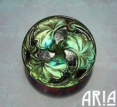 its a ginko leaf!!  CZECH GLASS BUTTON 28mm Handpainted Nouveau by AriaDesignStudio, $6.50