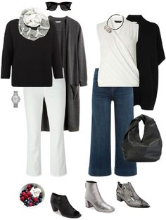 Ensemble: transitional black, white & grey, i wouldn't do flared crops but love the color scheme and overall concept Professional Wardrobe, Work Wardrobe, Capsule Wardrobe, Travel Wardrobe, Wardrobe Basics, Fall Outfits, Casual Outfits, Travel Outfits, Travel Fashion