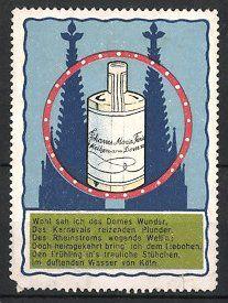 """Reklamemarke """"Kölnisch Wasser""""-Parfüm, Dom und Flasche Eau de Cologne"""