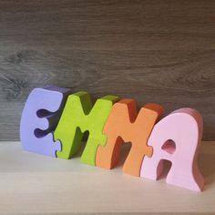 Letters name of Emma beech wooden puzzle Entirely handmade, paint and varnish toy standards. Height: thickness: length: according to the first name minimum 15 cm For other first name contact me. Dremel, Name Puzzle, Wooden Baby Toys, Burlap Crafts, Homemade Toys, Wood Letters, Wooden Puzzles, Scroll Saw, Woodworking