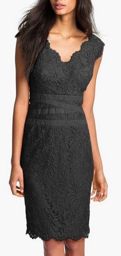 Embroidered lace sheath dress