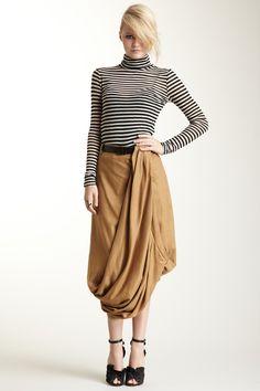 L.A.M.B / love the striped turtleneck & black/camel color combo
