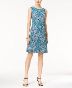 Nine West Paisley-Print A-Line Dress - Blue 16
