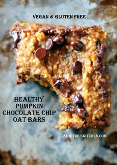 Healthy Pumpkin Chocolate Chip Oat Bars {vegan & gluten free} omit brown sugar