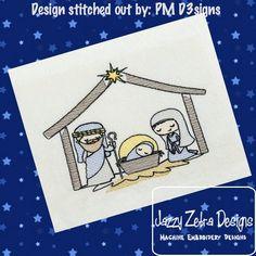 Nativity Manger Sketch Embroidery Design
