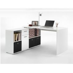•This Fresh Looking Flexi White Corner Computer Desk perfect for your office or home•It comes with classy white finish•Wide top and 4 open compartments•2...