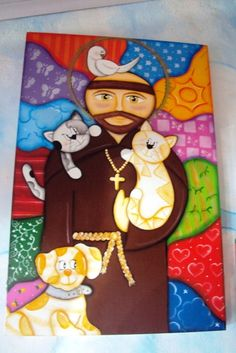Francis Of Assisi, St Francis, Catholic Kids, Ecole Art, Rabbit Art, Kokeshi Dolls, Pebble Painting, Corpus Christi, Religious Art