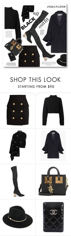 """""""all black outfit - daily look"""" by bonadea007 ❤ liked on Polyvore featuring Balmain, DKNY, Janavi, Burberry, Sophie Hulme, Ted Baker, Chanel and allblackoutfit"""