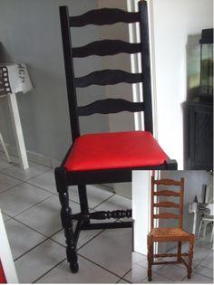 P'tit coup de jeune - Les chaises dont l'assise en paille a été remplacée par de la mousse rhabillée d'un tissu simili cuir - Vous avez redécoré votre intérieur ? Avant-après, montrez-nous !