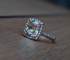 2ct Cushion Peach Champagne Jasmine sapphire 14k rose gold diamond ring enagagement ring sapphire ring. $2,450.00, via Etsy.