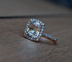2ct Cushion Peach Champagne Jasmine sapphire 14k rose gold diamond ring enagagement ring sapphire ring