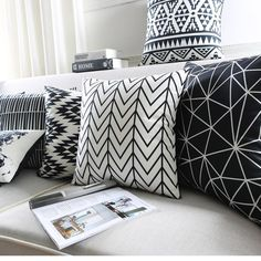 Black White Cushion Covers Home Decorative Pillows Case Geometric Pattern Throw Pillows Cover Map Velvet Pillow Case For Sofa White Decorative Pillows, White Throw Pillows, Decorative Pillow Cases, Velvet Pillows, Sofa Pillows, Custom Pillows, Sofa Throw, White Cushion Covers, Bedding