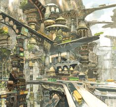 Fantasy city, multilevel roads and paths Fantasy City, Fantasy Places, Fantasy World, Environment Concept, Environment Design, Fantasy Landscape, Landscape Art, Space Opera, Sci Fi City