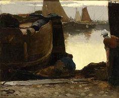 Willem de Zwart (1862-1931). Vroeg in de avond bij ondergaande zon in de haven van Scheveningen.
