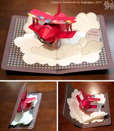 original handmade [pop-up card] Red Biplane ******************************************** http://youtu.be/JuTVncrSwa4 ******************************************** #Birthday card
