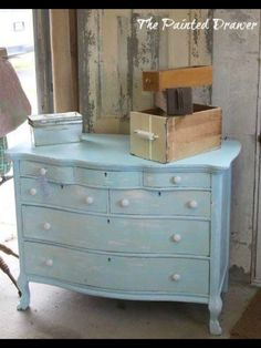 Beach Chic Vintage Dresser from The Painted Drawer - check us out on etsy and… Vintage Dressers, Vintage Furniture, Diy Furniture, Painted Furniture For Sale, Cupboard Drawers, Cupboards, Painting Lamps, Painted Drawers, Master Bedroom Design