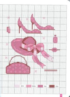 0 point de croix chaussures, chapeau & sac roses - cross stitch pink shoes, hat, handbag