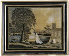 EMBROIDERED AND PAINTED SILK 'PRINTWORK' MOURNING PICTURE: IN MEMORY OF CYRUS AND BETSEY NORTHROP, ANONYMOUS, LITCHFIELD, CONNECTICUT, CIRCA 1805 Worked with black silk on a silk ground. Height 13 1/2 in. by width 17 1/4 in.