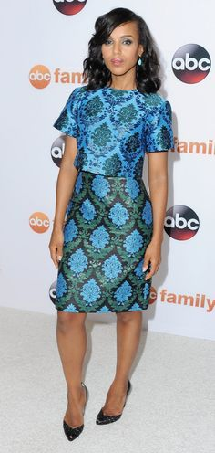 Kerry Washington wore a two-piece color block outfit.