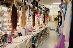 Browadway dressing room--would love to do something like this for the facepainter--with designs inspired by Broadway shows!