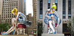 Artist Jeff Koons Installs A Giant Inflatable Ballerina In The Heart Of New York