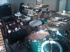 "Yamaha Maple Customs in home studio. ""The Drum Room"""