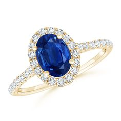 Angara Secured Claw Oval Tanzanite and Diamond Halo Ring in Rose Gold upswV
