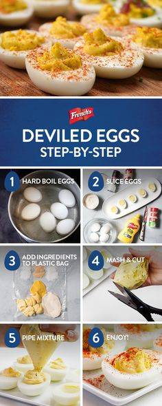 Looking for easy deviled eggs? Frenchs to the rescue! With just 7 ingredients and 6 simple steps youll have classic deviled eggs on the Easter brunch table in no time. Pro tip: mash & cut deviled egg filling in a plastic bag for flawless piping. Easter Recipes, Egg Recipes, Appetizer Recipes, Holiday Recipes, Snack Recipes, Cooking Recipes, Snacks, Brunch Appetizers, Simple Appetizers