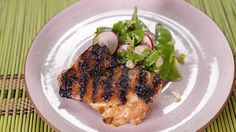 Michael Symon's Grilled Chicken Thighs  with Snow Pea Salad
