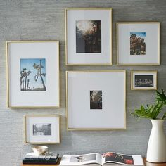 Gallery Frame, Polished Brass, 5 5 x 7 5 At West Elm Picture Frames Photo Frames is part of Brass Home Accessories West Elm Grow your own gallery These popular, versatile, goanywhere frames come - Picture Wall, Photo Wall, White Picture, Images Murales, Mirrored Picture Frames, Décor Antique, Gallery Frames, Art Gallery, Wall Decor