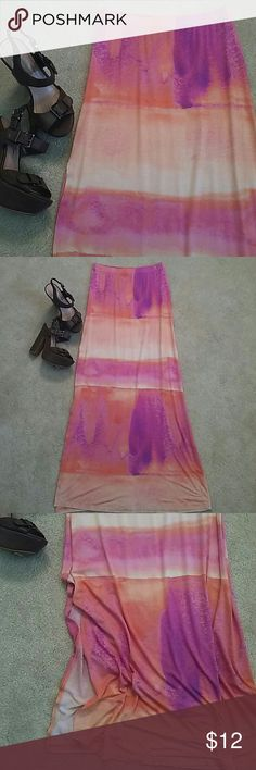Decree maxi skirt Orange, pink and purple knit maxi with slit on one side, size small. Decree Skirts