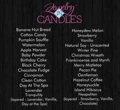 Jewelry in Candles - Scents - Shop my online store https://www.jewelryincandles.com/store/amymyers  like me on facebook Jewelry in Candles - Amy Myers