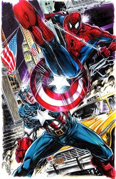 Captain America vs. Spider-Man - Mike Lilly