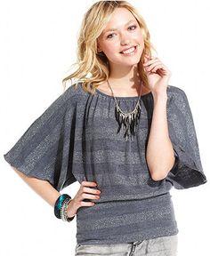 BCX Juniors Top, Short Kimono Sleeve Striped Metallic - Juniors Tops - Macy's