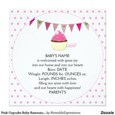 Find customizable Baby invitations & announcements of all sizes. Pick your favorite invitation design from our amazing selection. Unique Baby Announcement, Baby Girl Birth Announcement, Birth Announcements, Blue Cupcakes, Pink Icing, Peppermint Candy, Templates Printable Free, Pink Polka Dots, Baby Design