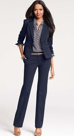 Navy suit is a staple and great alternative to standard black suit. Pair with bright colored cami and statement necklace for a dressier look.  #womens #business #fashion