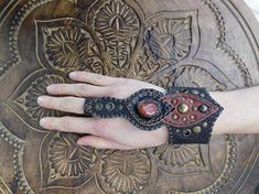 Burning Man  Leather Cuff  Bracelet With Ring And Carnelian