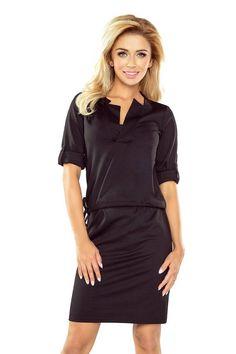 52e92144fb31 Casual Black Short Sleeves With Collar Mini Dress. Κοντά Φορέματα