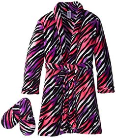 Sleep & Co Girl's Plush Zebra Bathrobe and Slipper Gift Set: Long-sleeve shawl-collar robe featuring allover animal print with self-tie belt at waist and print-matched slippers Kids Slippers, Plush, Maternity, Sleep, Long Sleeve, How To Wear, Gifts, Amp, Amazon