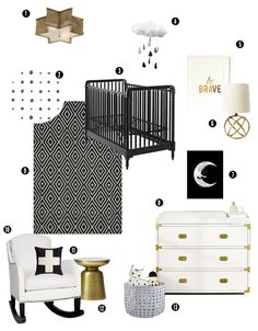 Room Design: Modern Black, Gold and White Nursery - gold, black and white gender neutral nursery board - Baby Room Design, Nursery Design, Nursery Decor, Nursery Ideas, Nursery Room, Design Girl, Project Nursery, Decor Room, Nursery Inspiration