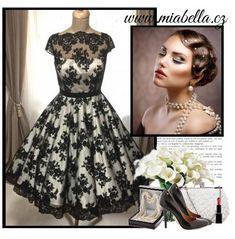 2706c328339 Korzetové retro šaty s černou krajkou - více barev - MiaBella