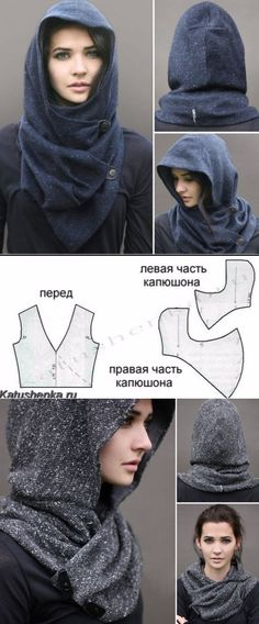 "Good No Cost knitting ideas unusual Tips Необычный ""капюшон"" (выкройка) / Головные убо… , Diy Clothing, Sewing Clothes, Clothing Patterns, Dress Patterns, Barbie Clothes, Sewing Hacks, Sewing Tutorials, Sewing Projects, Sewing Tips"