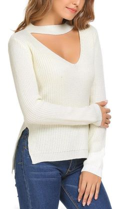 White Long Sleeve V Neck Solid Loose Pullover Knit Sweater