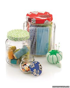 Decorative Jar Lids  If you're going to do creative work, your craft supplies should look the part. Here's a way to decorate basic jam jars with lively fabric scraps.  Get the How-To