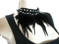 Festival Necklace, Feather Choker, Beaded Collar Hippy Boho Goth Headband by thekittensmittensuk on Etsy