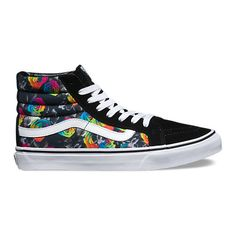 Rainbow Floral SK8-Hi Slim ($70) ❤ liked on Polyvore featuring shoes, sneakers, s h o e s, floral sneakers, floral high top sneakers, lace up sneakers, floral shoes and floral print sneakers